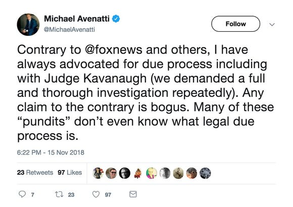 A tweet from @MichaelAvenatti.