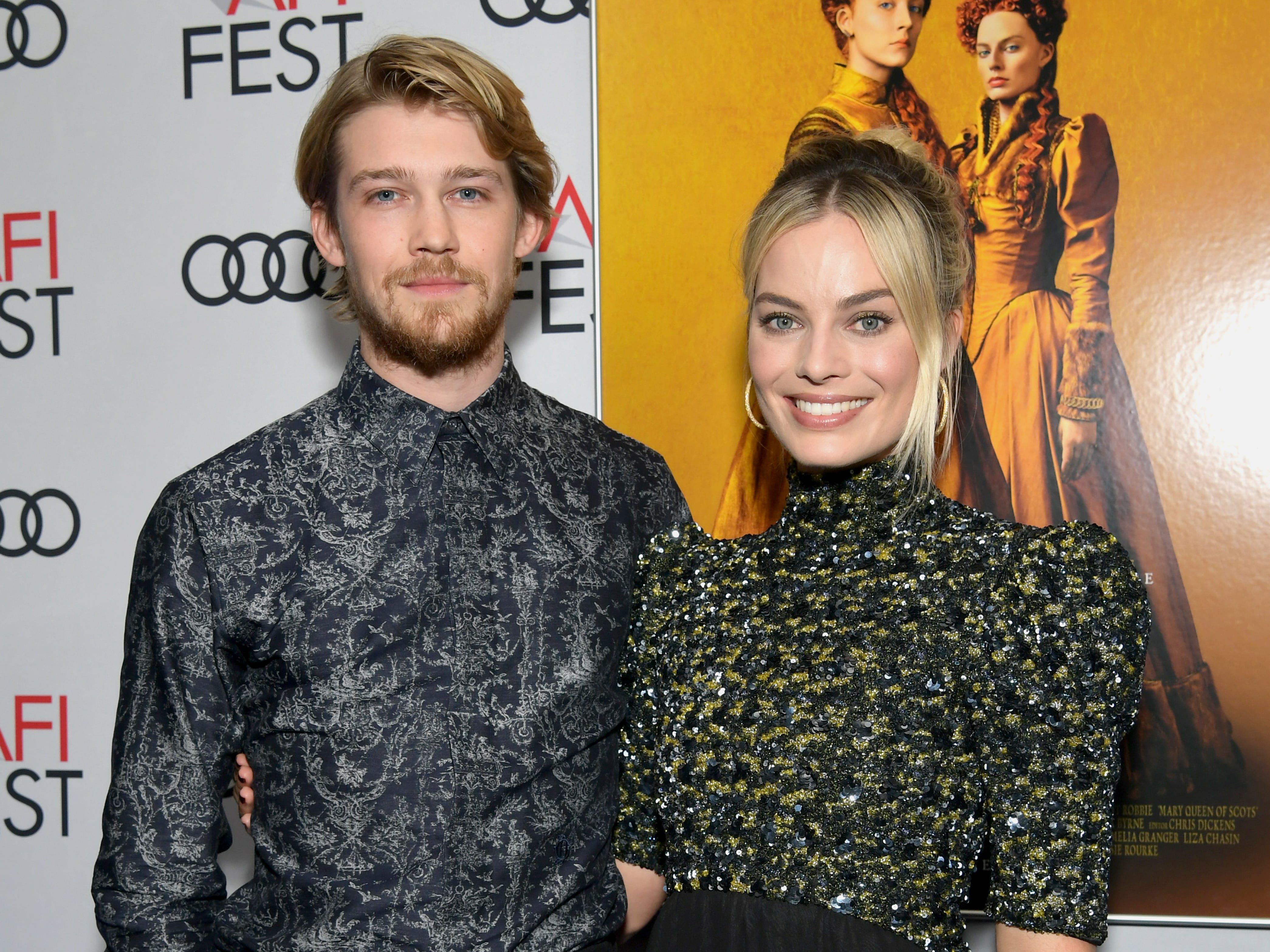 "HOLLYWOOD, CALIFORNIA - NOVEMBER 15: Joe Alwyn (L) and Margot Robbie attend the closing night world premiere gala screening of ""Mary Queen Of Scots"" during AFI FEST 2018 presented by Audi at TCL Chinese Theatre on November 15, 2018 in Hollywood, California. (Photo by Emma McIntyre/Getty Images for AFI) ORG XMIT: 775252746 ORIG FILE ID: 1068157990"