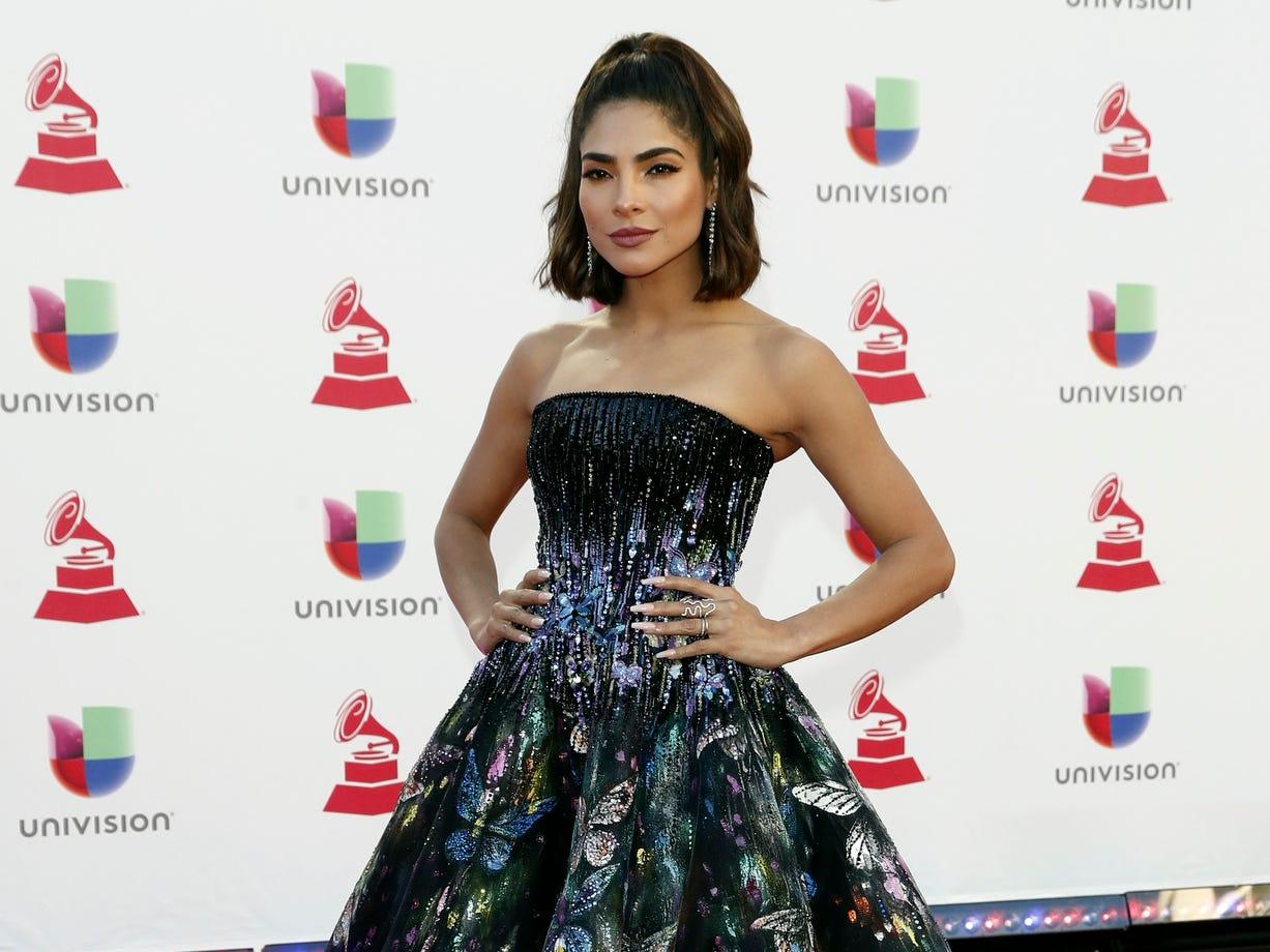 Alejandra Espinoza arrives for the 19th Annual Latin Grammy Awards ceremony at the MGM Grand Garden Arena in Las Vegas, Nevada.