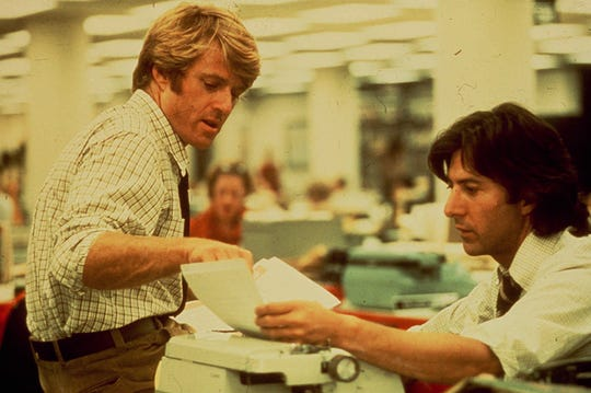"""Robert Redford, left, and Dustin Hoffman brought """"All the President's Men"""" to life onscreen as Washington Post reporters Bob Woodward and Carl Bernstein."""