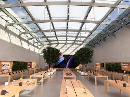 The interior of the Apple Store in Santa Monica. Designers have taken advantage of the high ceilings and separated sales into the front of the store, with the back to education and service.
