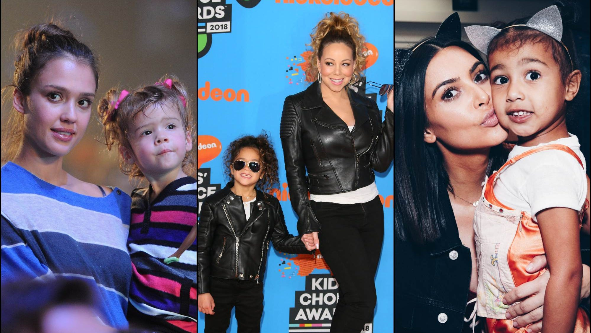 Actress Jessica Alba and daughter Honor, singer Mariah Carey and daughter Monroe Cannon, and reality star Kim Kardashian with daughter North West.