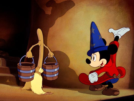 """Mickey Mouse as the Sorcerer's Apprentice in a scene from the animated motion picture """"Fantasia."""" Credit: Disney Enterprises [Via MerlinFTP Drop]"""