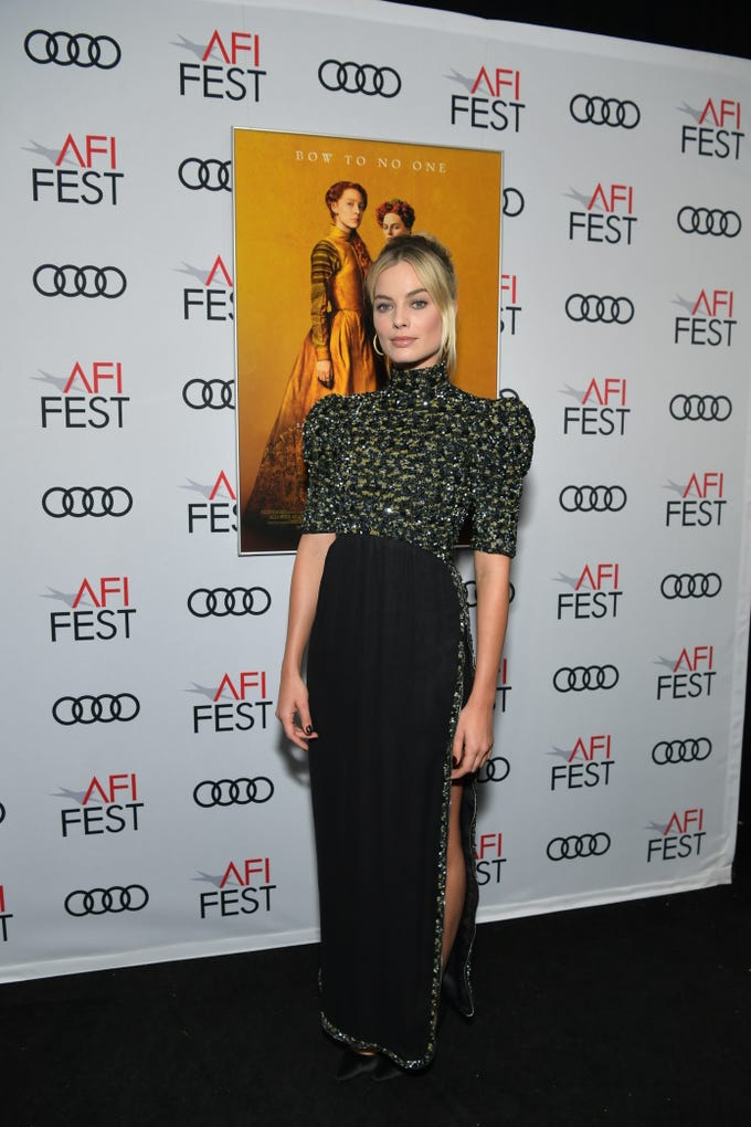 "HOLLYWOOD, CALIFORNIA - NOVEMBER 15: Margot Robbie attends the closing night world premiere gala screening of ""Mary Queen Of Scots"" during AFI FEST 2018 presented by Audi at TCL Chinese Theatre on November 15, 2018 in Hollywood, California. (Photo by Emma McIntyre/Getty Images for AFI) ORG XMIT: 775252746 ORIG FILE ID: 1068154452"
