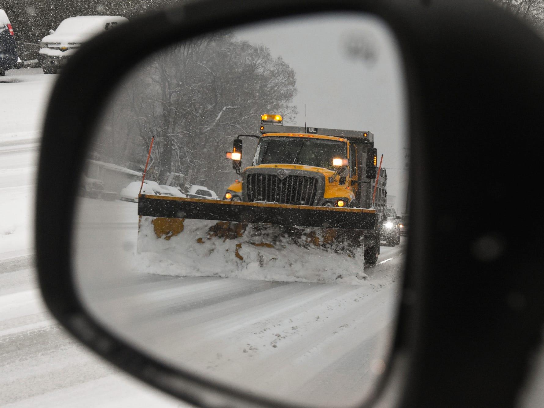 A PennDOT truck plows Rt. 61 in North Manheim Township, Pa., on Nov. 15, 2018.