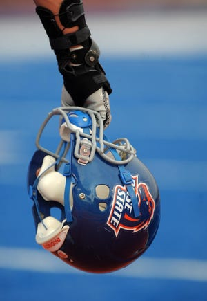 A 2010 general view of the Boise State Broncos helmet. Former player Jack Fields Jr. was shot and killed in a hotel incident on Thursday, Nov. 15.