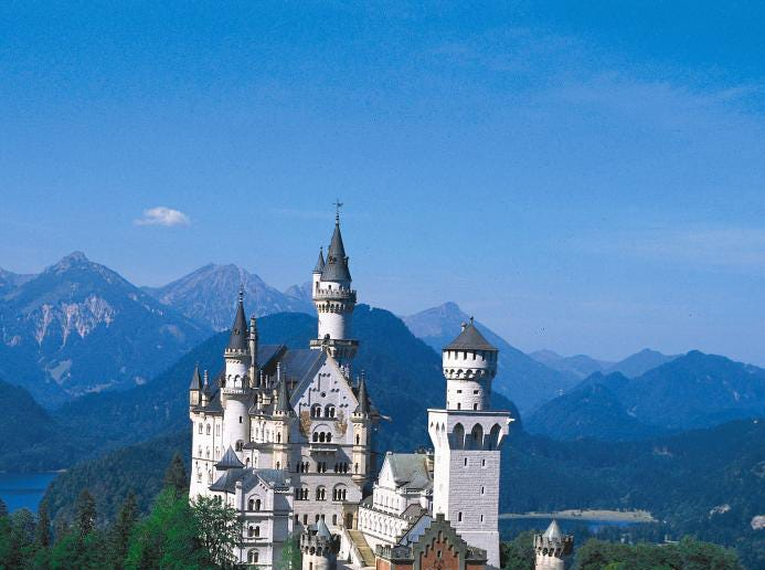 The Neuschwanstein Castle in Bavaria, Germany. This 19th century structure prohibits pictures as well as backpacks and strollers.