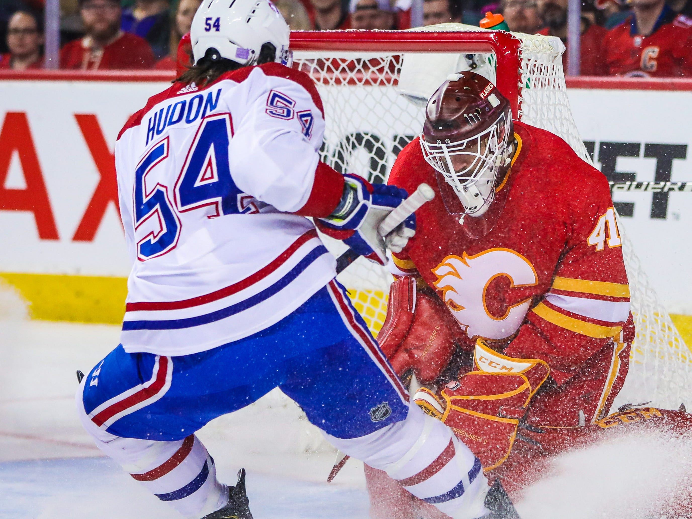 Nov. 15: Calgary Flames goaltender Mike Smith makes a save against the Montreal Canadiens during the second period at Scotiabank Saddledome.