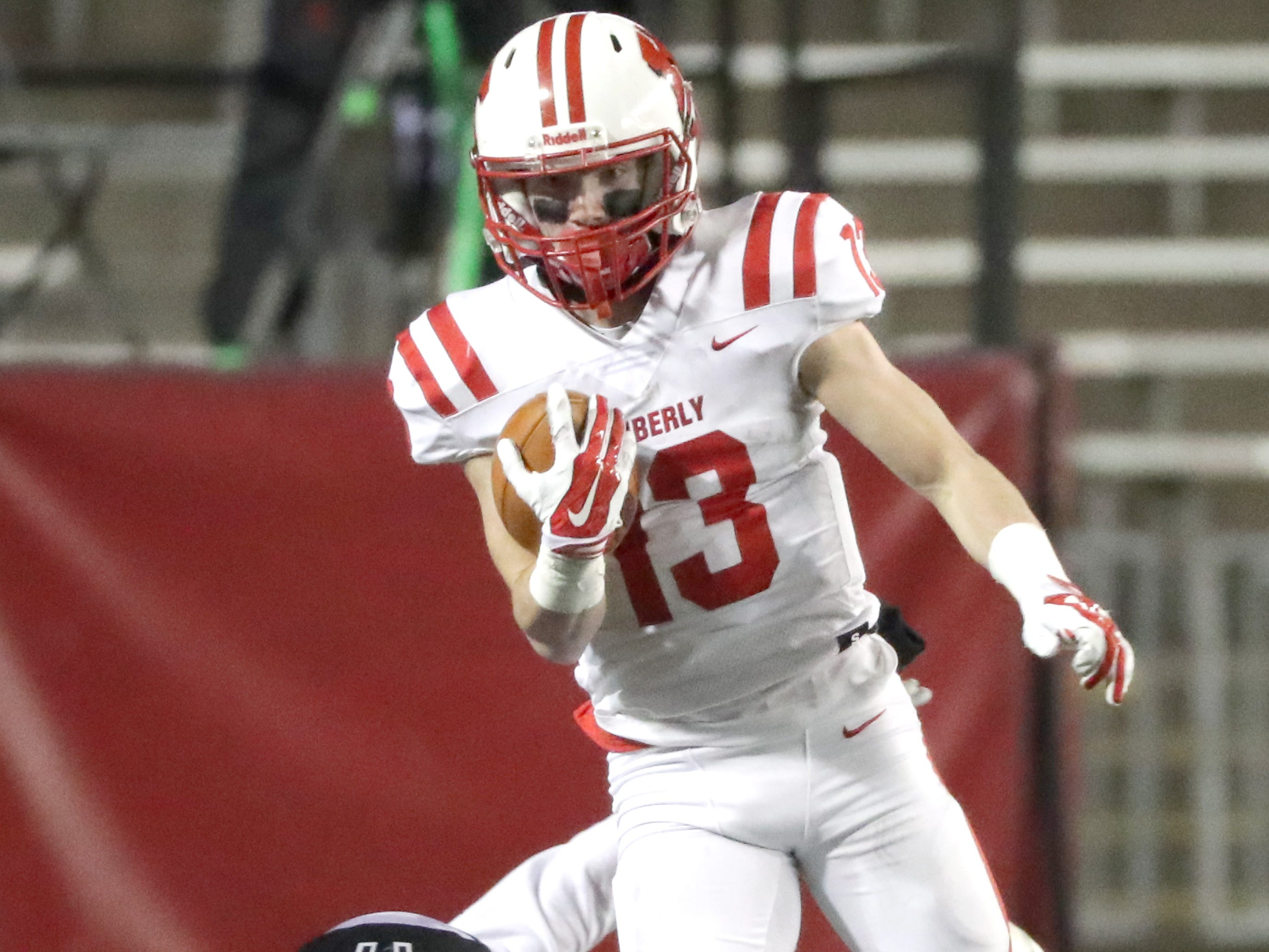 Kimberly High School's #13 Zach Lechnir against Muskego High School during the WIAA Division 1 state championship football game on Friday, November 16, 2018, at Camp Randall in Madison, Wis.