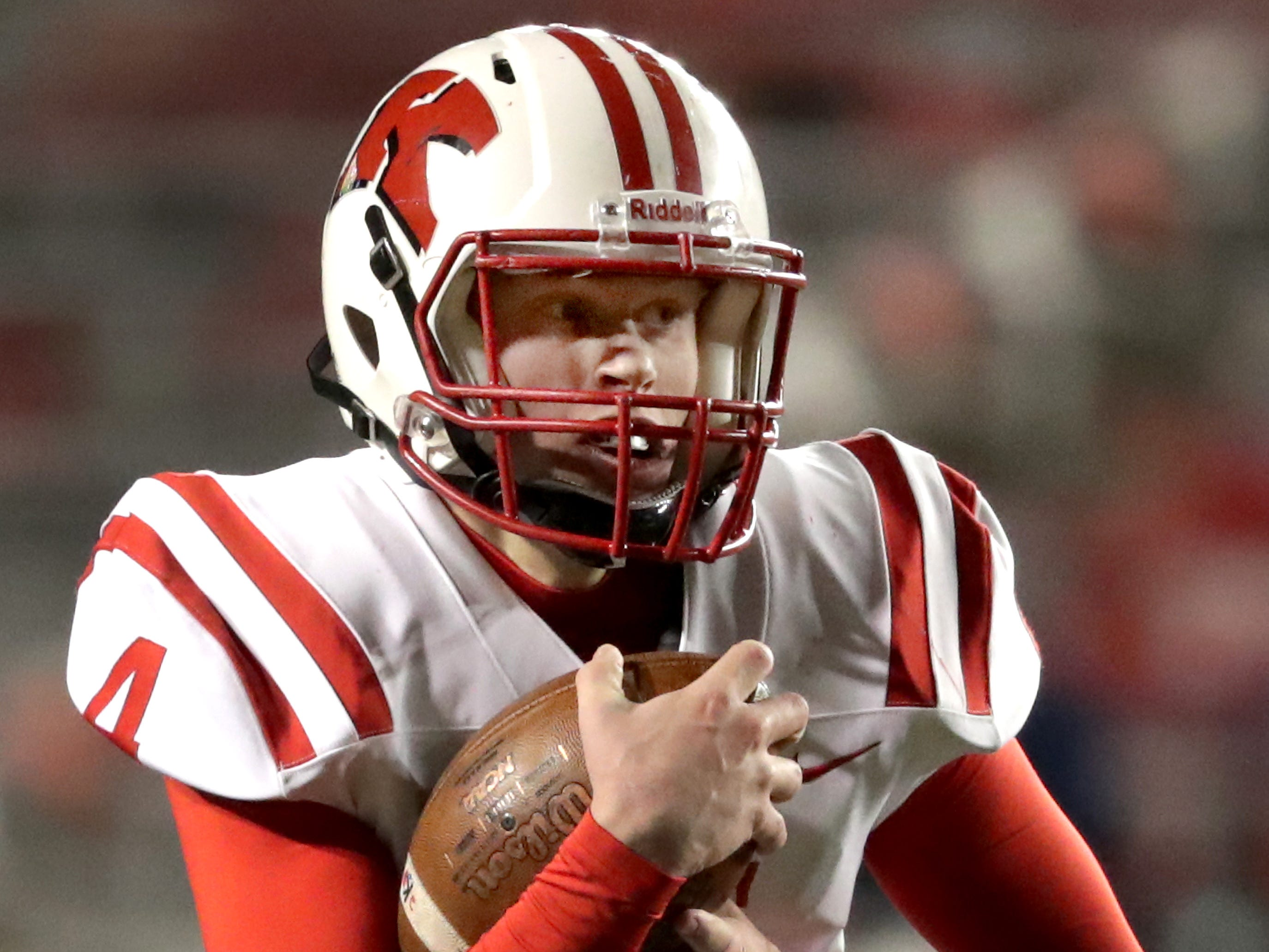 Kimberly High School's #4 Cody Staerkel against Muskego High School during the WIAA Division 1 state championship football game on Friday, November 16, 2018, at Camp Randall in Madison, Wis.