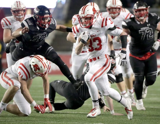 Caleb Frazer (33) is one of the top playmakers for the Kimberly football team this season. The Papermakers are the top-ranked team in the Post-Crescent coverage area. USA TODAY NETWORK-Wisconsin