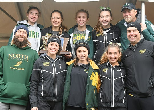 North Hunterdon Girls wins the team trophy at the Cross Country Meet of Champions at Holmdel Park