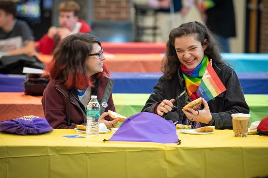 Ally Fornino, left, and Megan Maurer, both Wall Township High School students, attend the 15th annual GSA forum held Saturday at Middletown High School South.