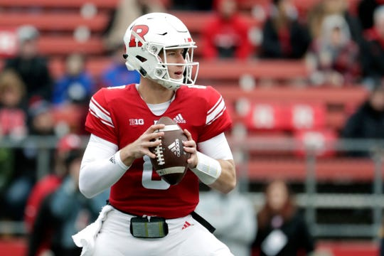 Rutgers quarterback Artur Sitkowski looks to pass against Penn State during the first half of an NCAA college football game, Saturday, Nov. 17, 2018, in Piscataway, N.J. (AP Photo/Julio Cortez)