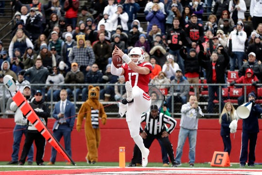 Rutgers quarterback Giovanni Rescigno is unable to catch a pass in the end zone on a fourth down play against Penn State during the second half of an NCAA college football game, Saturday, Nov. 17, 2018, in Piscataway, N.J. (AP Photo/Julio Cortez)