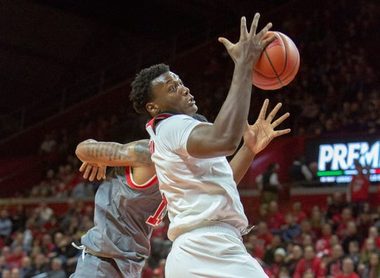 Rutgers Shaquille Doorson (2) takes down a rebound during the first half of St. John's at Rutgers Men's Basketball on Nov. 16, 2018 at the Rutgers Athletic Center in Piscataway.