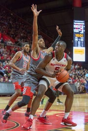 Rutgers Eugene Omoruyi (5) tries goes up against the St. John's defense during the second half of St. John's at Rutgers men's basketball on Nov. 16, 2018 at the Rutgers Athletic Center in Piscataway.