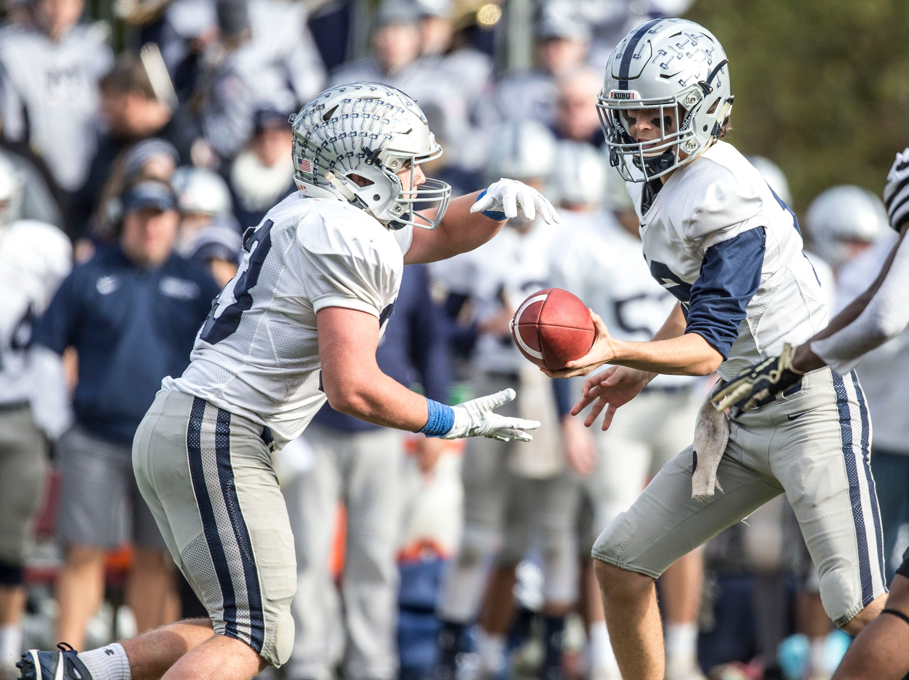 Manasquan's #33 Canyon Birch gains yards on the ground. Manasquan falls to Hillside in the NJSIAA Central Group II championship football game. Hillside, NJSaturday, November, 17, 2018