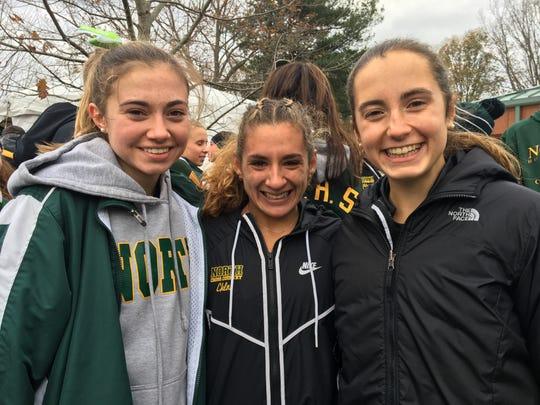 North Hunterdon's top three runners (left to right): Angela Kearsley, Chloe Gonzalez and Emily Nugent