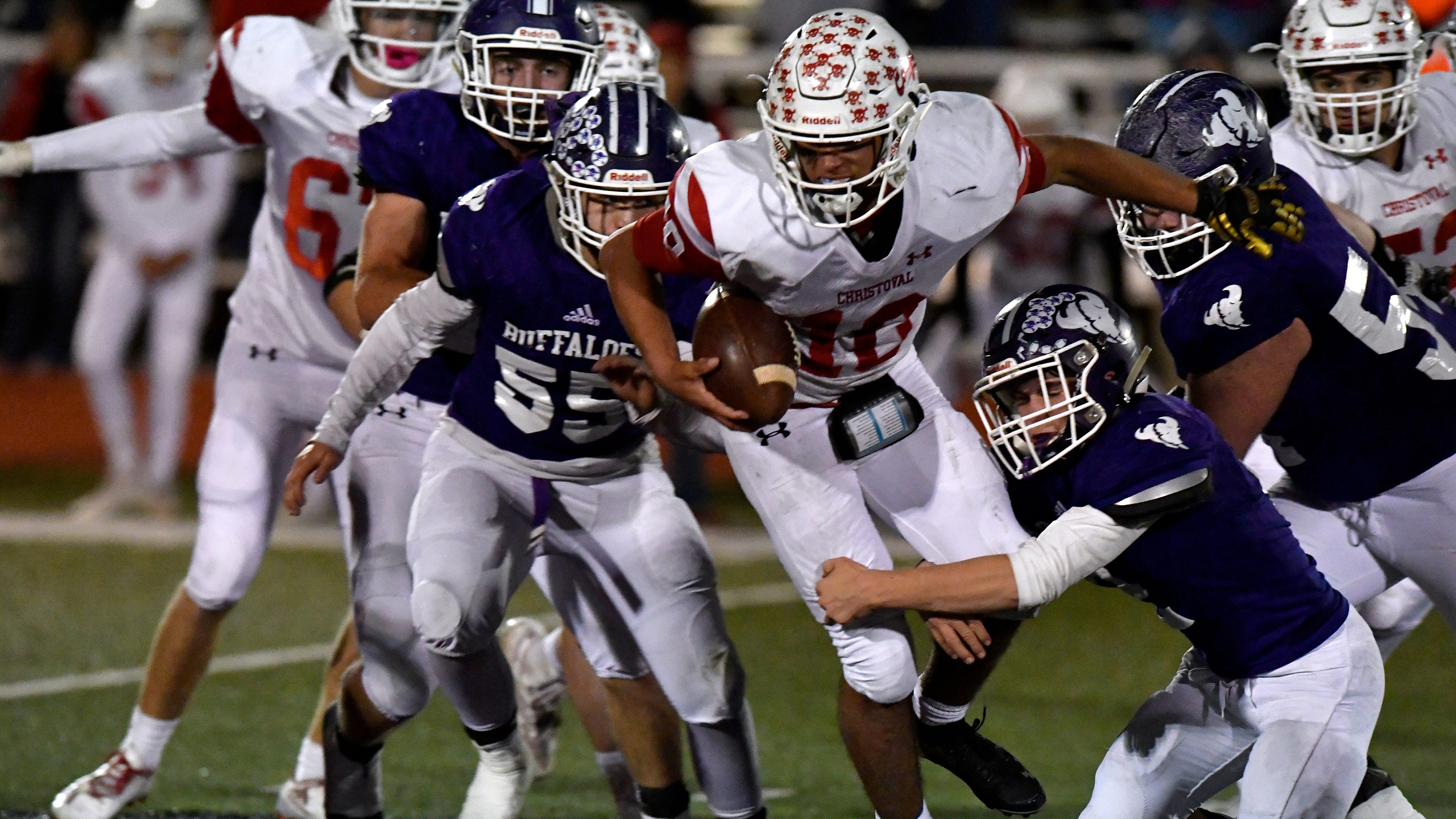 Christoval quarterback Brayden Wilcox carries the ball during Friday's District 7 & 8 Region II playoffs against Cross Plains Nov. 16, 2018 in Roscoe. Christoval won, 40-34.