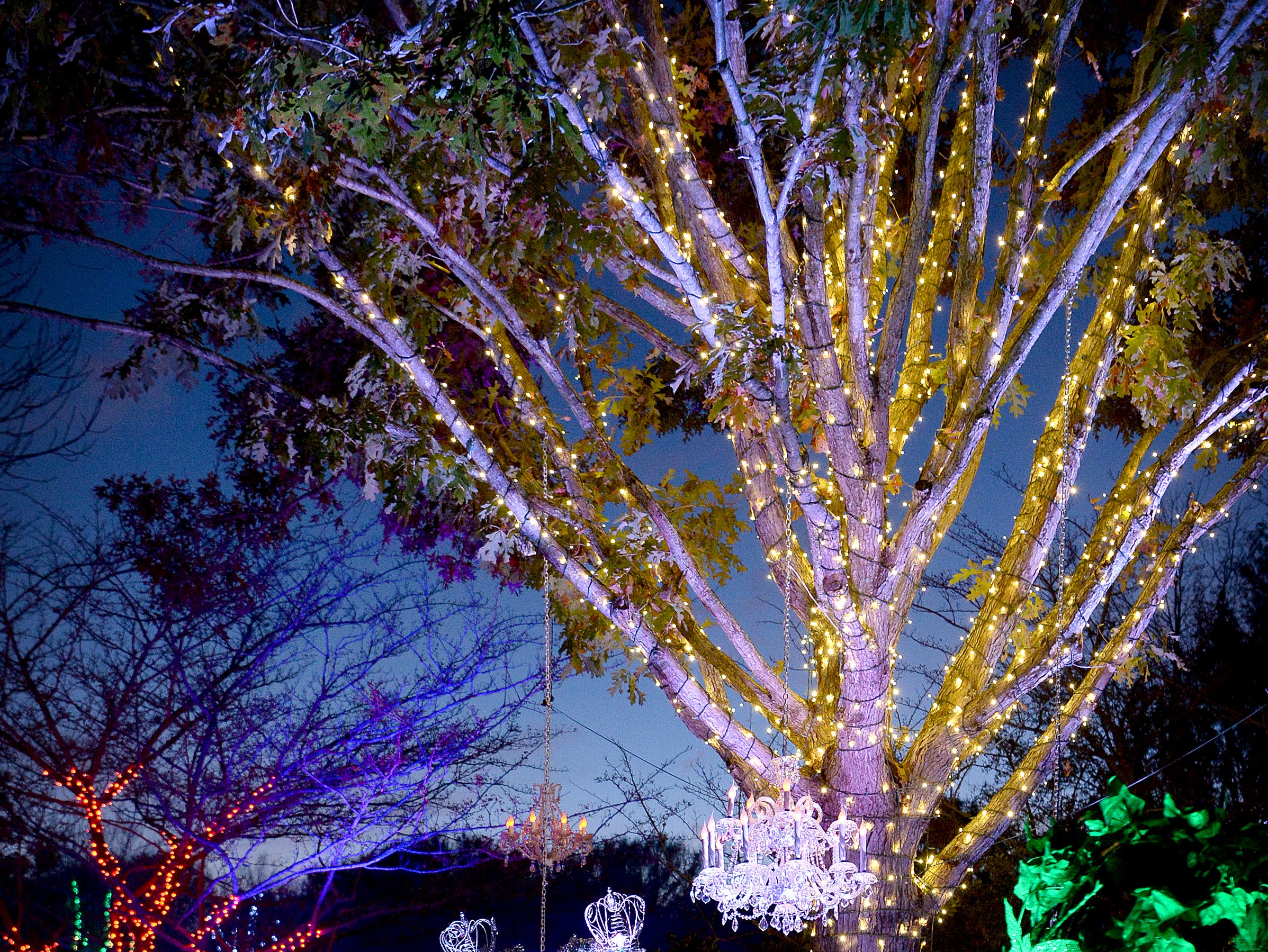 Ball gowns are made from evergreens and lights below hanging chandeliers in the Heritage Garden during the Winter Lights show at the North Carolina Arboretum on Nov. 16, 2018. The show runs nightly through the end of the year.