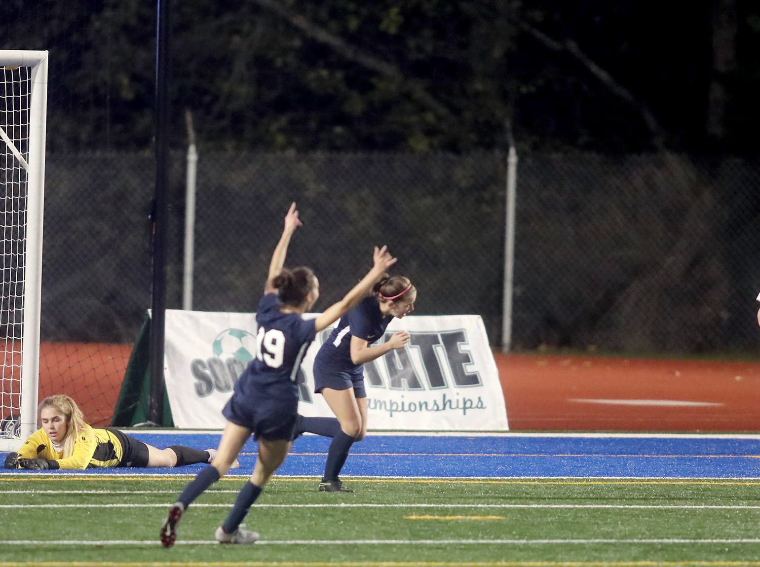 Klahowya lost to King's Way on shootout kicks  in the 2018 Girls Soccer State Championship 1A semifinal game at Shoreline Stadium on Friday, November 16, 2018.King's way celebrates the  first goal of the game