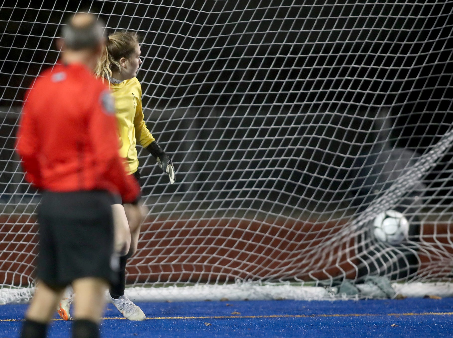 Klahowya lost to KingÕs Way on penalty kicks in overtime in the 2018 Girls Soccer State Championship 1A semifinal game at Shoreline Stadium on Friday, November 16, 2018. The penalty kick get past Klahowya goal keeper Maria Mist.