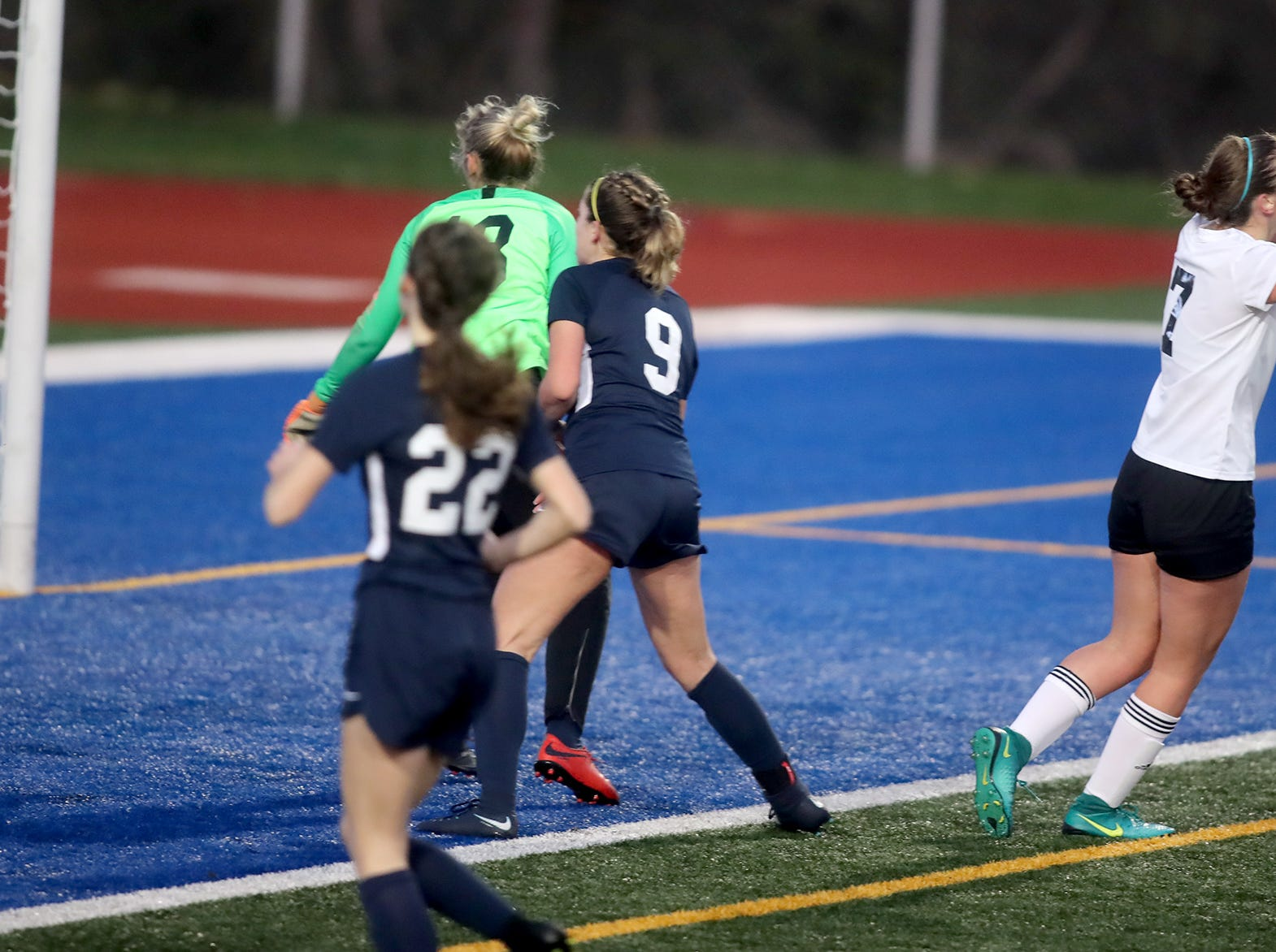 Klahowya lost to King's Way  in overtime in the 2018 Girls Soccer State Championship 1A semifinal game at Shoreline Stadium on Friday, November 16, 2018. Klahowya's Hope Martin, right, reacts after missing an open net.
