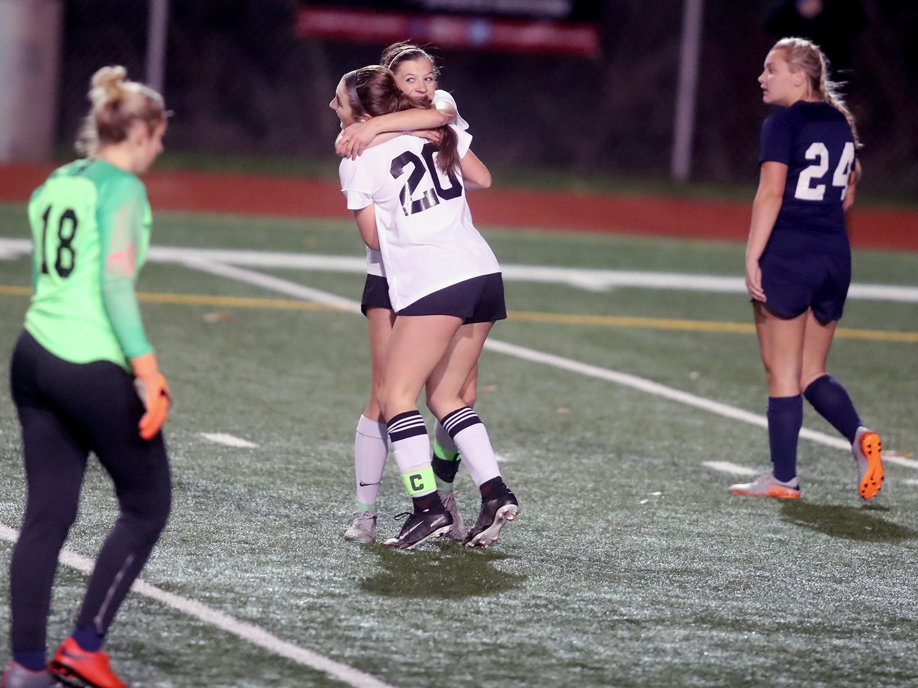 Klahowya lost to King's Way  in the 2018 Girls Soccer State Championship 1A semifinal game at Shoreline Stadium on Friday, November 16, 2018.Klahowya celebrates their first goal of the game to tie the score.