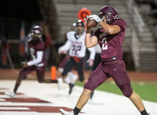 Flour Bluff Hornet's Preston Wilkey catches a pass for a touchdown in the game against La Joya Palmview at Hornet Stadium on Friday, November 16, 2018 during the Class 5A Division I by-district game.