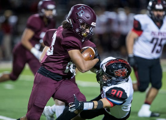 Flour Bluff Hornet's Kadon Luke returns the second half kickoff punt to place the team in scoring position against La Joya Palmview at Hornet Stadium on Friday, November 16, 2018 during the Class 5A Division I by-district game.