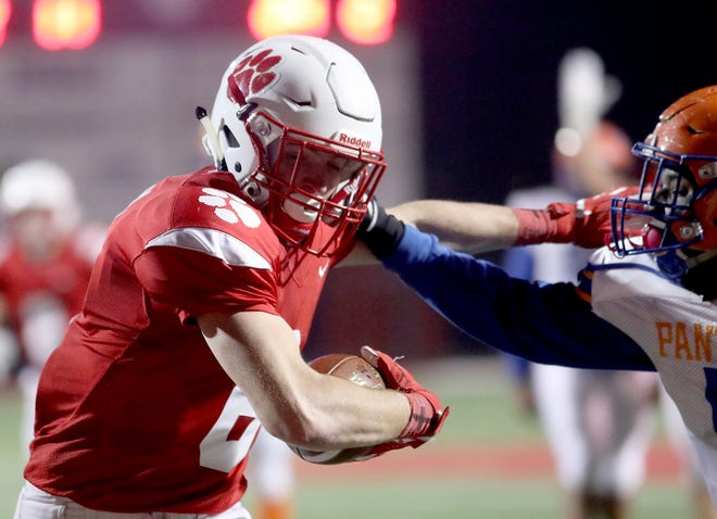Beechwood wide receiver John Odom runs for a touchdown during the Tigers football game against Frankfort Friday, Nov. 16, 2018.