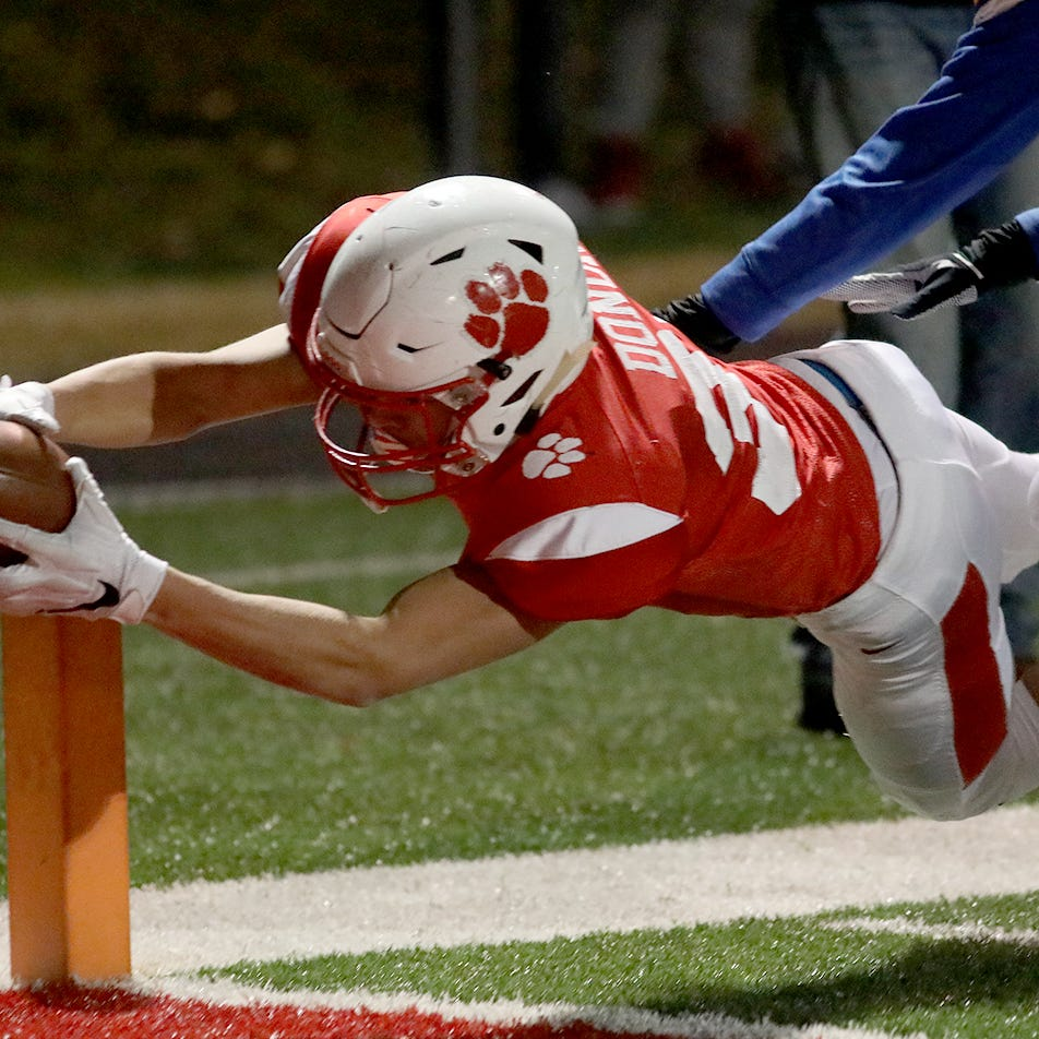 Beechwood running back Tyler Donoho scores a touchdown during the Tigers' football game against Frankfort, Friday Nov. 16, 2018.