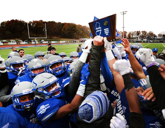 Sayreville celebrates its 2018 sectional championship victory over North Brunswick
