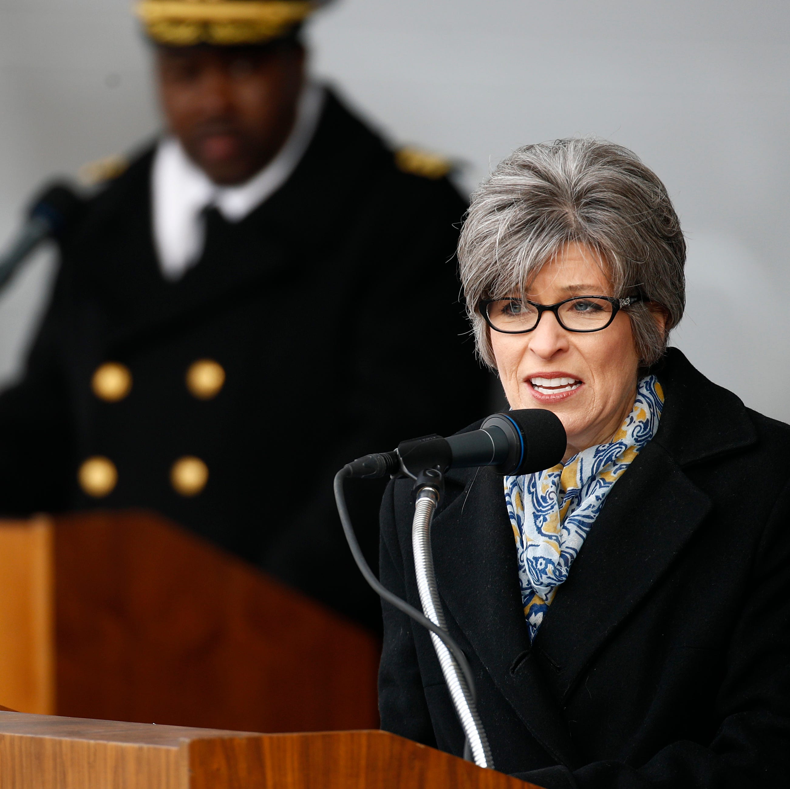 Sen. Joni Ernst, R-Iowa, speaks at the USS Sioux City's commissioning ceremony, Saturday, Nov. 17, 2018, at the U.S. Naval Academy in Annapolis, Md.