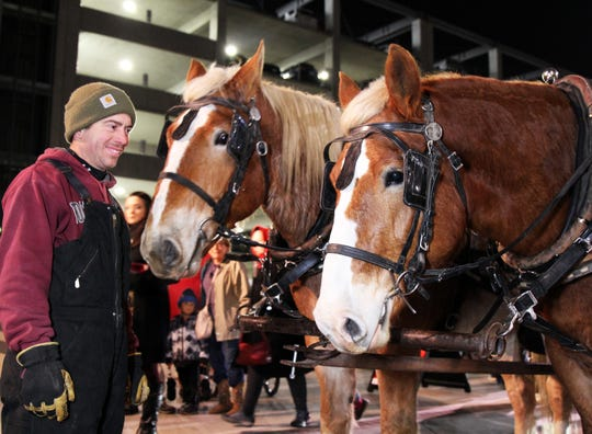 Horse-drawn carriages are popular during the holidays