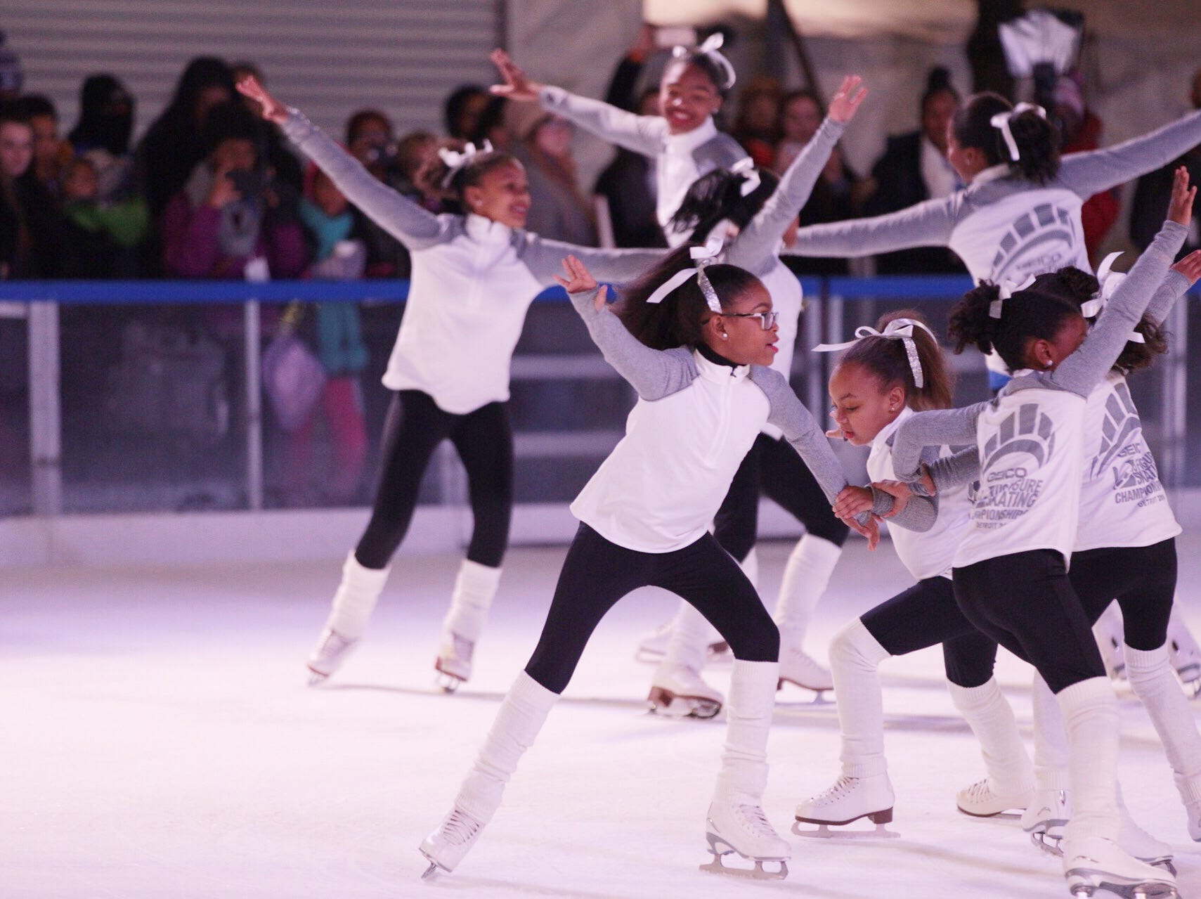 Figure Skating in Detroit members perform during the annual tree lighting event at Campus Martius Park in downtown Detroit on Friday, November 16, 2018.