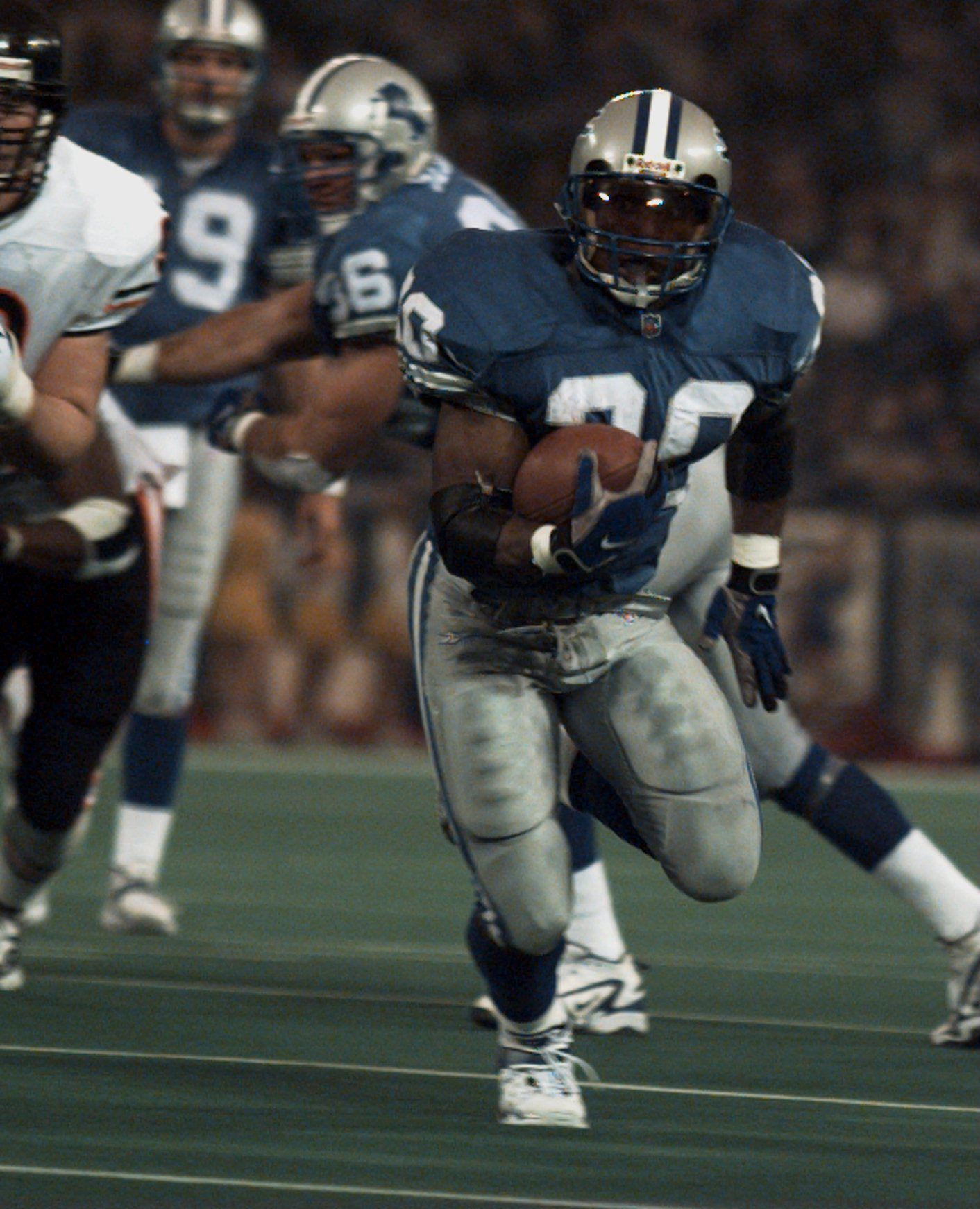 Barry Sanders rushed for 167 yards and three touchdowns against the Bears on Thanksgiving in 1997.