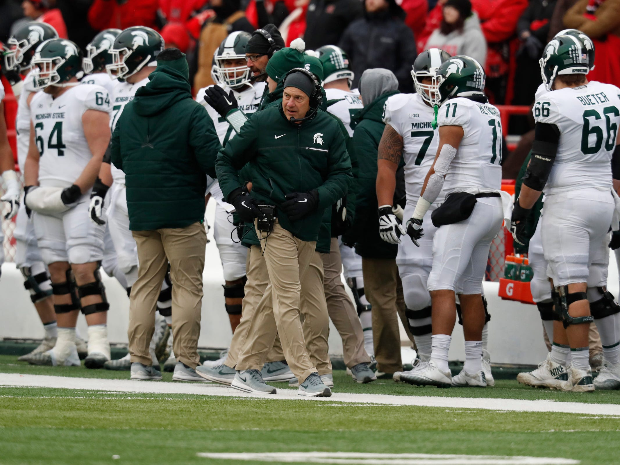 Michigan State coach Mark Dantonio watches from the sideline during the game against Nebraska in the first half on Saturday, Nov. 17, 2018, in Lincoln, Neb.