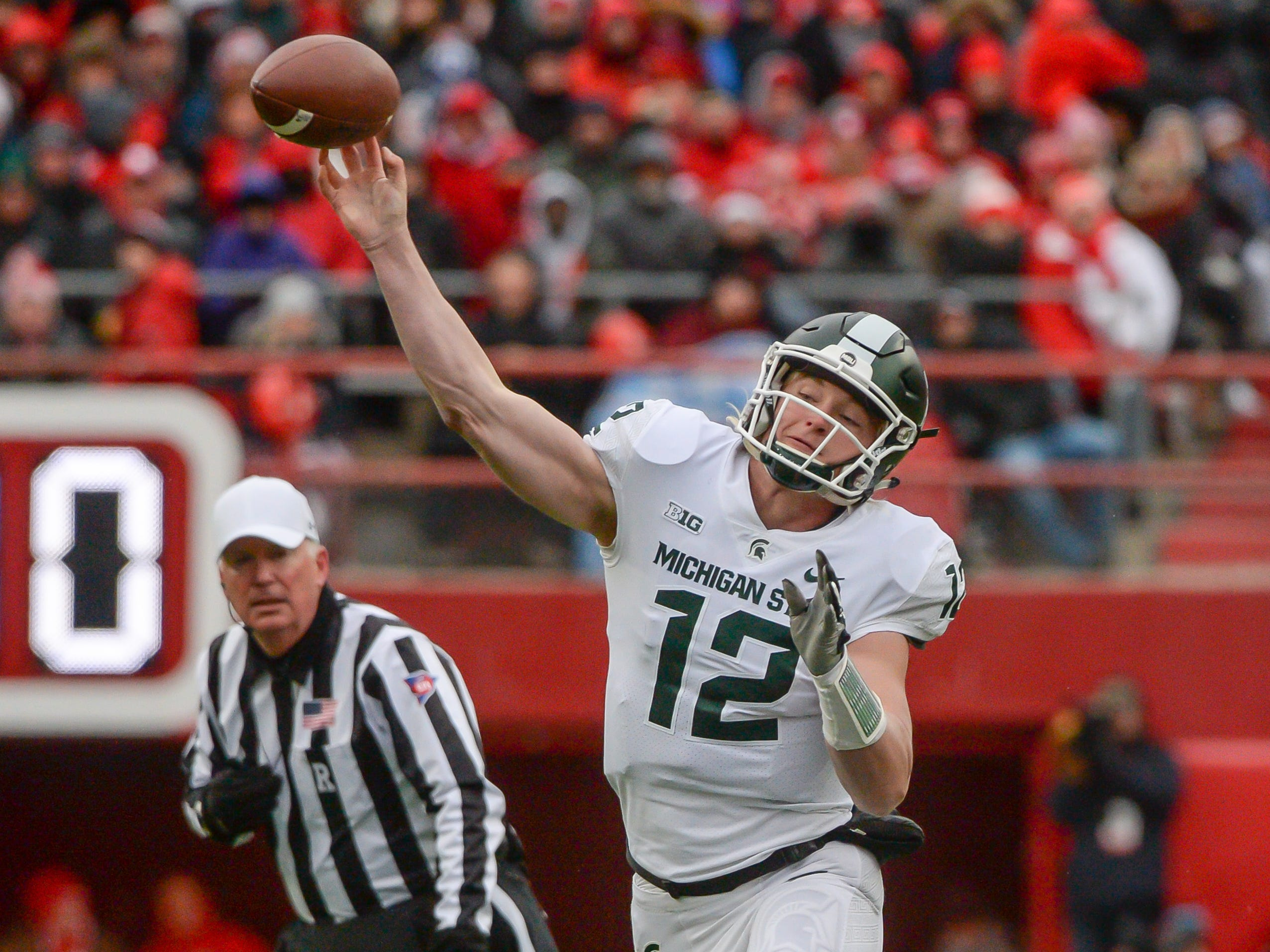 Michigan State quarterback Rocky Lombardi attempts a pass against Nebraska in the first half on Saturday, Nov. 17, 2018, in Lincoln, Neb.