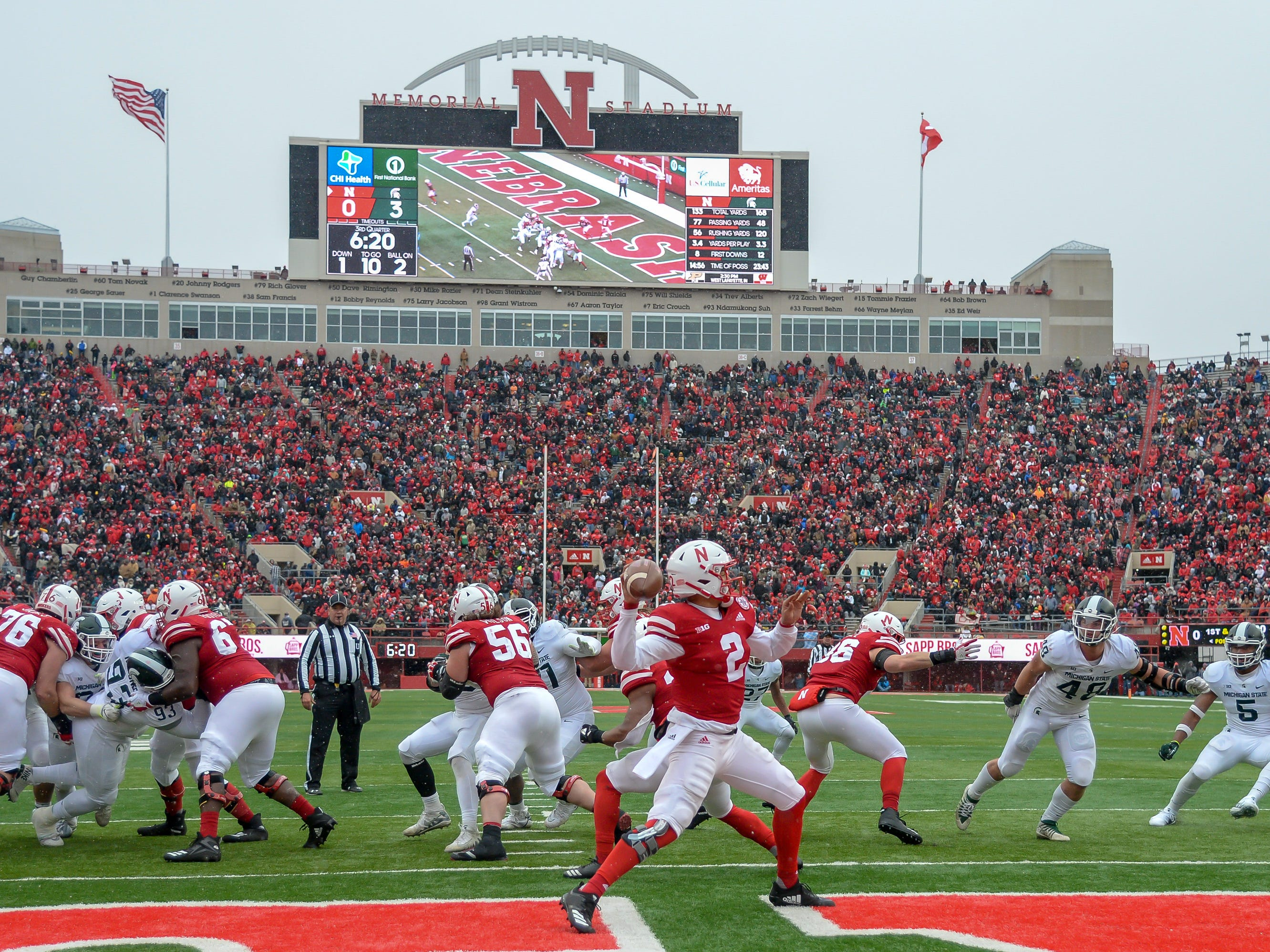 Michigan State plays at Nebraska in Memorial Stadium on Nov. 17, 2018 in Lincoln, Neb.