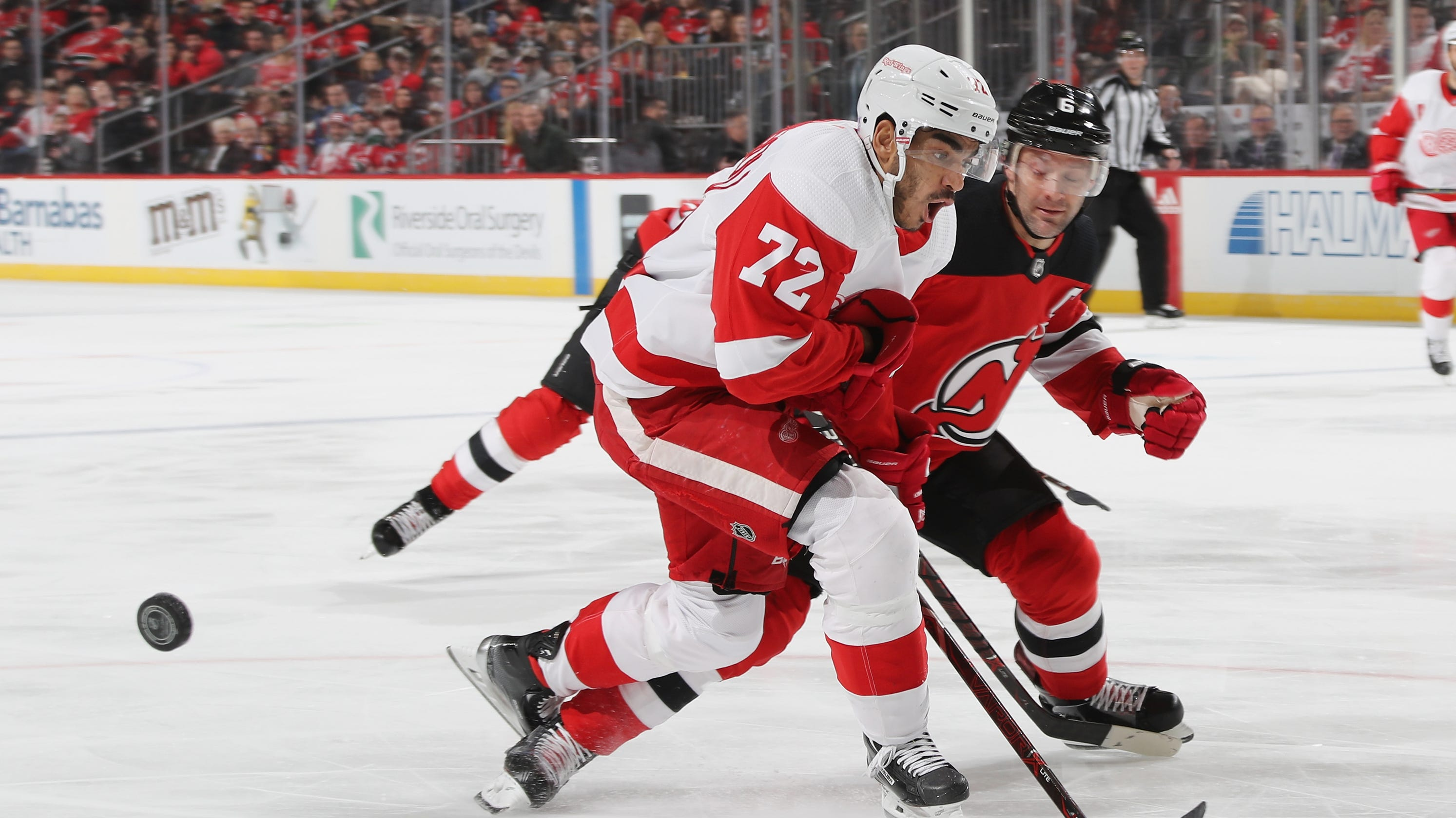 ae1f31485c8 Detroit Red Wings beat Devils in overtime on Dylan Larkin goal