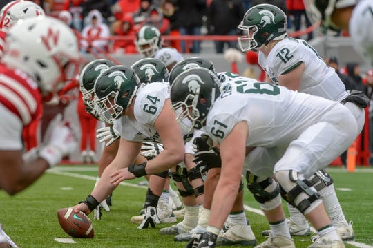 Michigan State quarterback Rocky Lombardi prepares to take the snap from offensive lineman Matt Allen in the second half against Nebraska at Memorial Stadium on Nov. 17, 2018 in Lincoln, Neb.