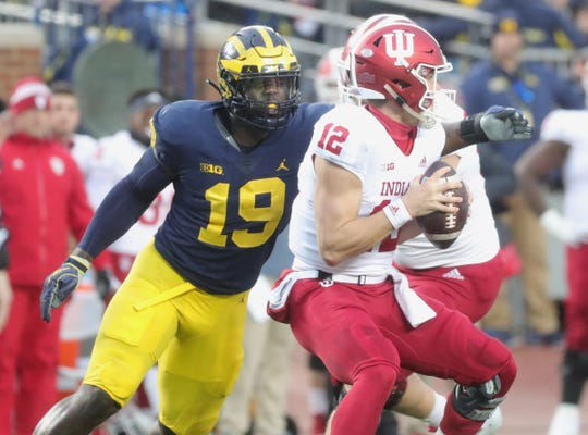 Kwity Paye rushes Indiana's Peyton Ramsey this season.