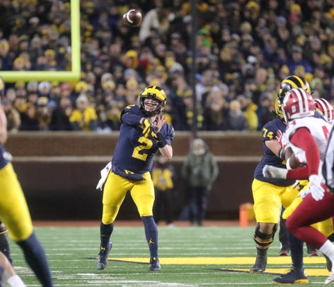 Michigan's Shea Patterson passes against Indiana in the first half Saturday, Nov. 17, 2018 at Michigan Stadium in Ann Arbor.