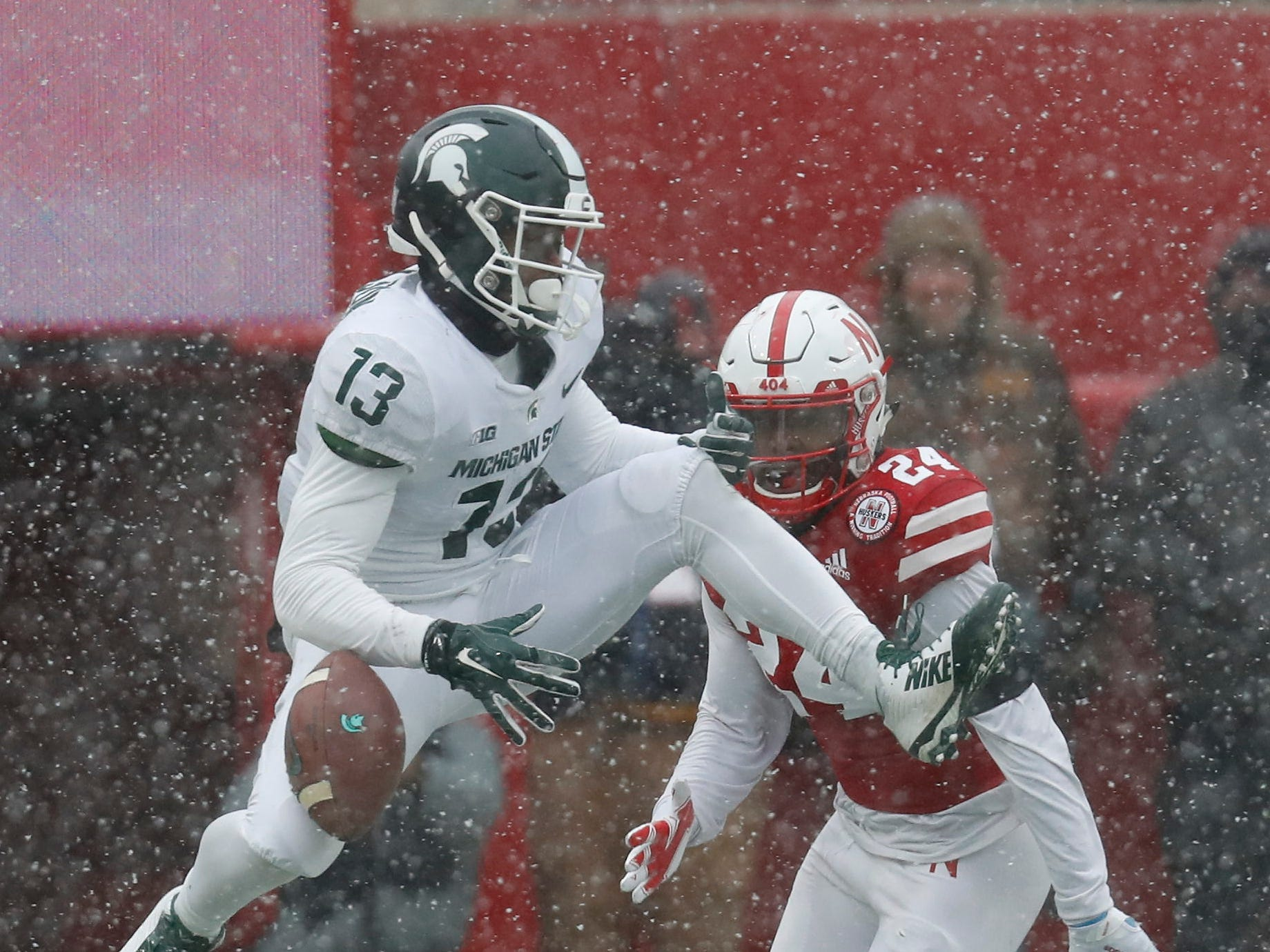 Michigan State receiver Laress Nelson drops a pass against Nebraska late in the fourth quarter at Memorial Stadium on Nov. 17, 2018 in Lincoln, Neb.