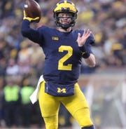 Shea Patterson passes against Indiana this season.