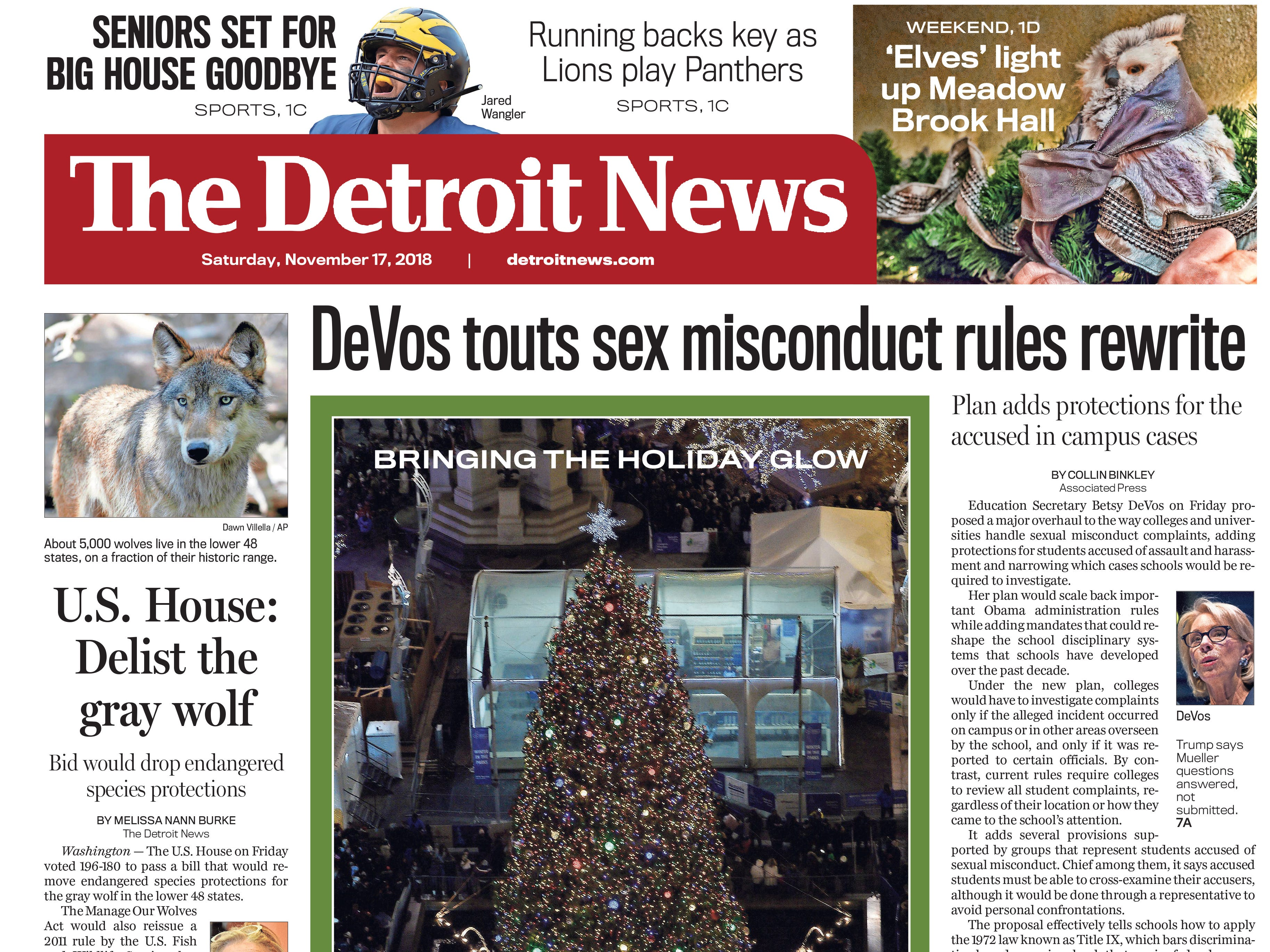 The front page of the Detroit News on Saturday, November 17, 2018.