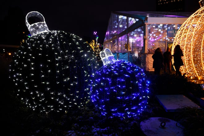 Large ornaments are on display at Beacon Park.