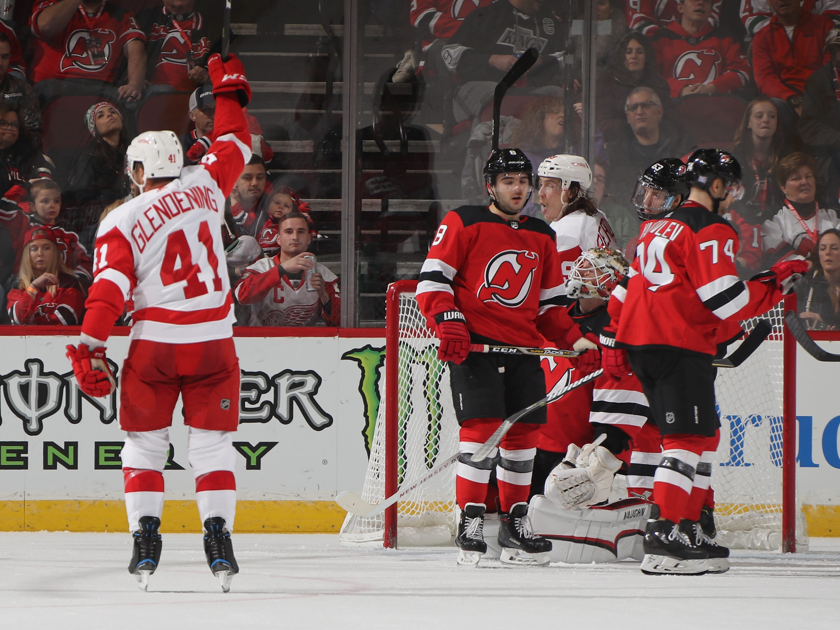 Detroit's Luke Glendening celebrates his second-period goal.